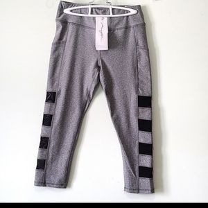 Gottex grey leggings w/mesh panels & pockets